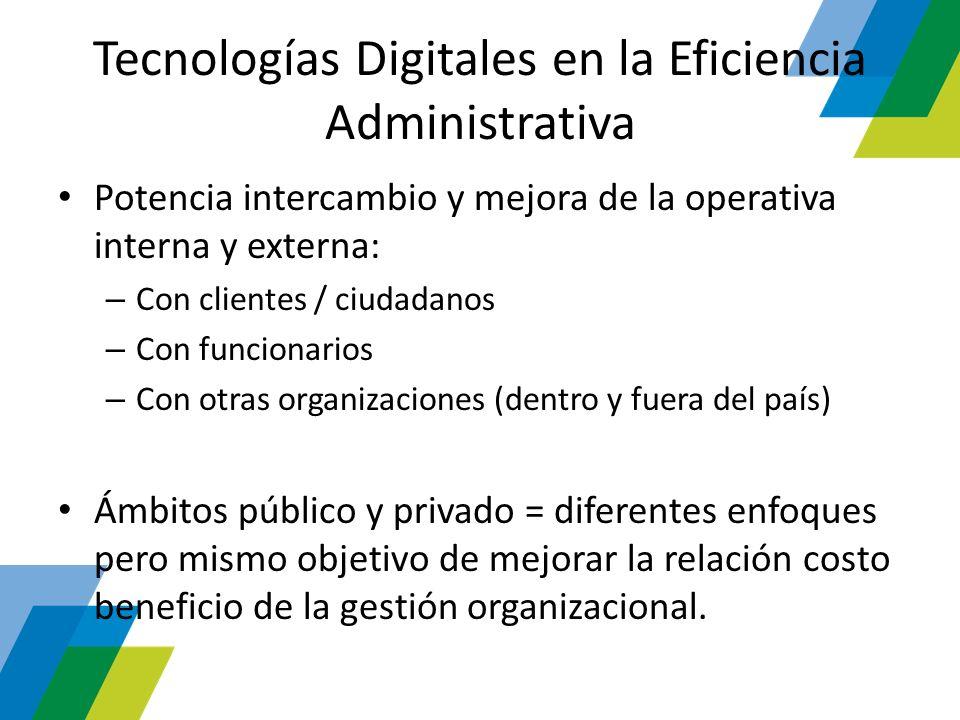 Tecnologías Digitales en la Eficiencia Administrativa Potencia intercambio y mejora de la operativa interna y externa: – Con clientes / ciudadanos – C