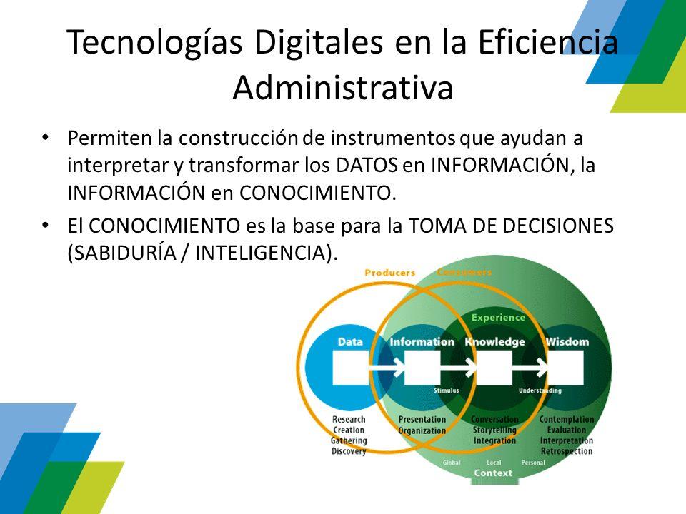 Tecnologías Digitales en la Eficiencia Administrativa Permiten la construcción de instrumentos que ayudan a interpretar y transformar los DATOS en INF