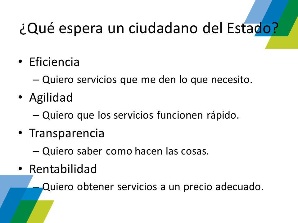 ¿Qué espera un ciudadano del Estado? Eficiencia – Quiero servicios que me den lo que necesito. Agilidad – Quiero que los servicios funcionen rápido. T
