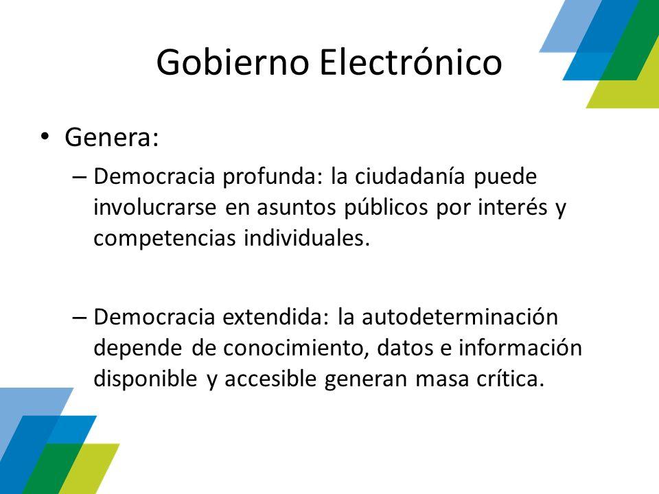 Gobierno Electrónico Genera: – Democracia profunda: la ciudadanía puede involucrarse en asuntos públicos por interés y competencias individuales. – De