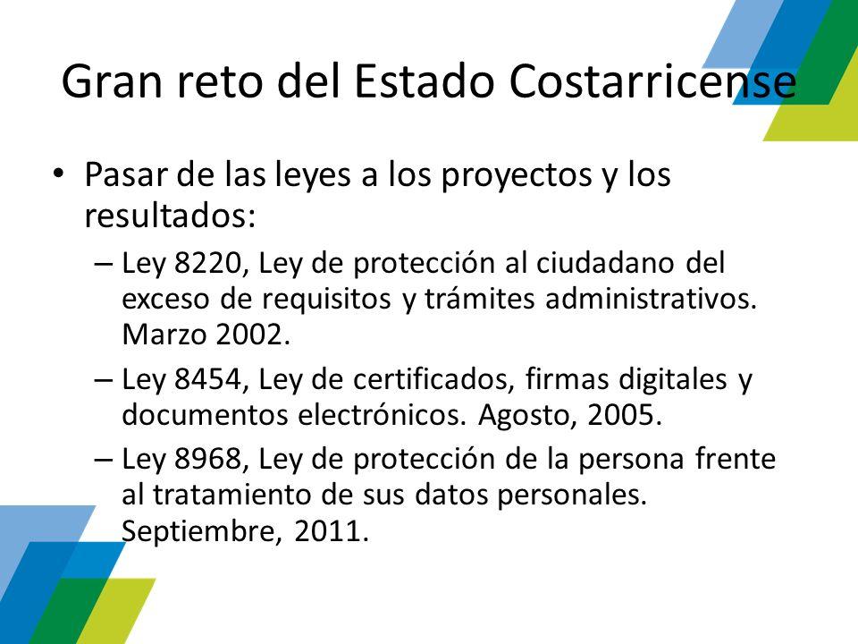 Gran reto del Estado Costarricense Pasar de las leyes a los proyectos y los resultados: – Ley 8220, Ley de protección al ciudadano del exceso de requi