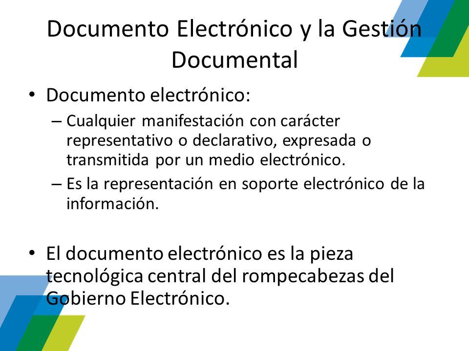 Documento Electrónico y la Gestión Documental Documento electrónico: – Cualquier manifestación con carácter representativo o declarativo, expresada o