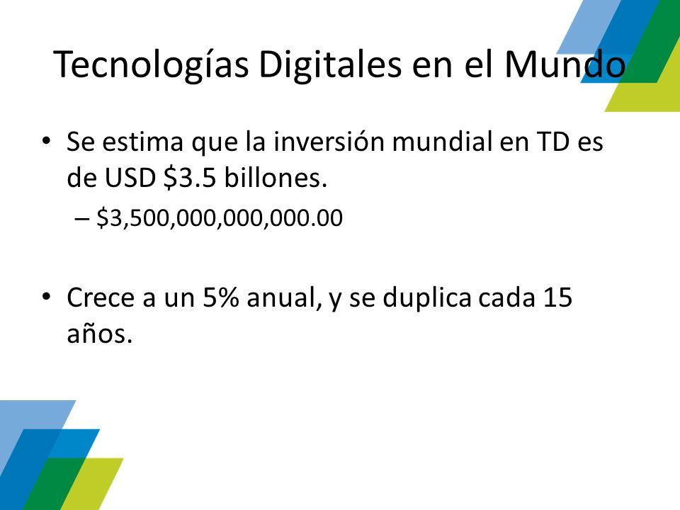 Tecnologías Digitales en el Mundo Se estima que la inversión mundial en TD es de USD $3.5 billones. – $3,500,000,000,000.00 Crece a un 5% anual, y se