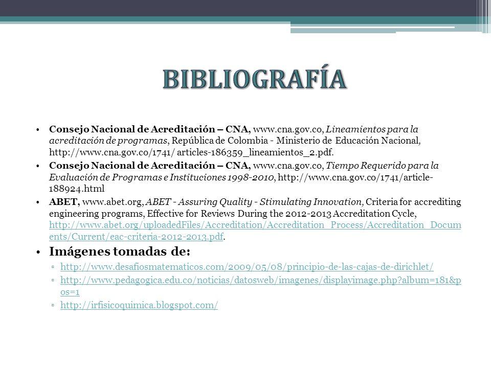 Consejo Nacional de Acreditación – CNA, www.cna.gov.co, Lineamientos para la acreditación de programas, República de Colombia - Ministerio de Educación Nacional, http://www.cna.gov.co/1741/ articles-186359_lineamientos_2.pdf.