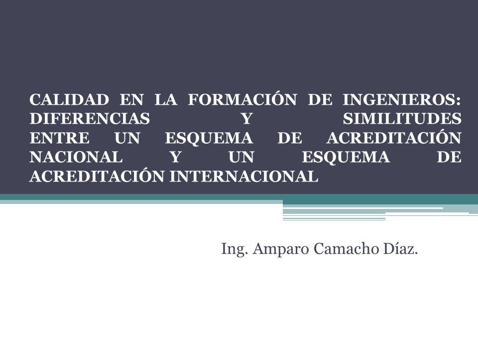 CALIDAD EN LA FORMACIÓN DE INGENIEROS: DIFERENCIAS Y SIMILITUDES ENTRE UN ESQUEMA DE ACREDITACIÓN NACIONAL Y UN ESQUEMA DE ACREDITACIÓN INTERNACIONAL Ing.