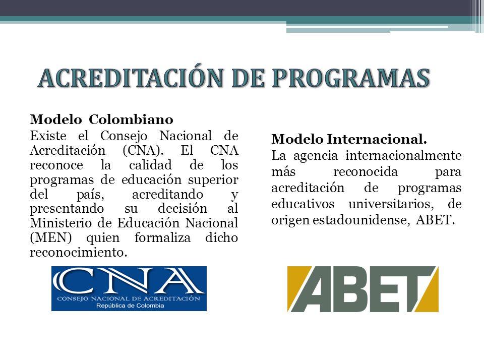 Modelo Colombiano Existe el Consejo Nacional de Acreditación (CNA).