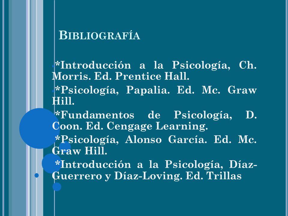 B IBLIOGRAFÍA *Introducción a la Psicología, Ch.Morris.