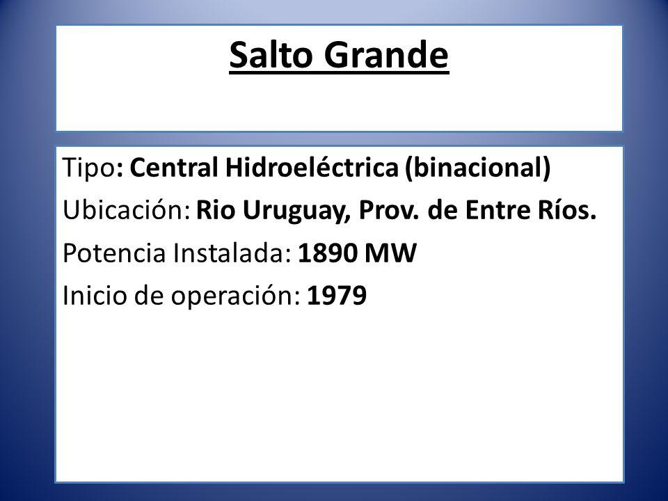 Salto Grande Tipo: Central Hidroeléctrica (binacional) Ubicación: Rio Uruguay, Prov. de Entre Ríos. Potencia Instalada: 1890 MW Inicio de operación: 1