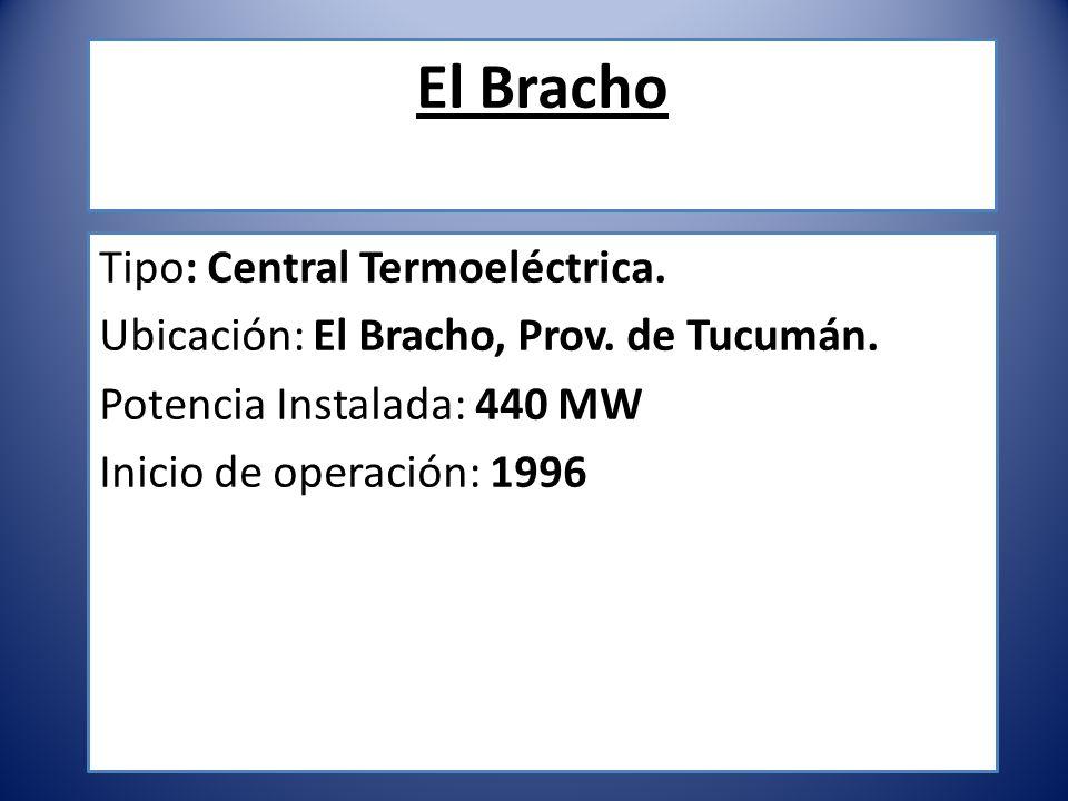 El Bracho Tipo: Central Termoeléctrica. Ubicación: El Bracho, Prov. de Tucumán. Potencia Instalada: 440 MW Inicio de operación: 1996