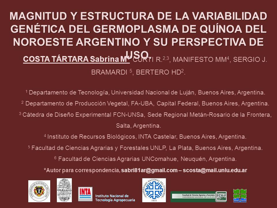 MAGNITUD Y ESTRUCTURA DE LA VARIABILIDAD GENÉTICA DEL GERMOPLASMA DE QUÍNOA DEL NOROESTE ARGENTINO Y SU PERSPECTIVA DE USO. COSTA TÁRTARA Sabrina M 1*