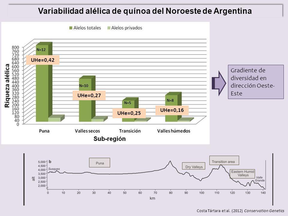 Variabilidad alélica de quínoa del Noroeste de Argentina N=12 N=10 N=5 N=8 UHe=0,42 UHe=0,27 UHe=0,25 UHe=0,16 Gradiente de diversidad en dirección Oe