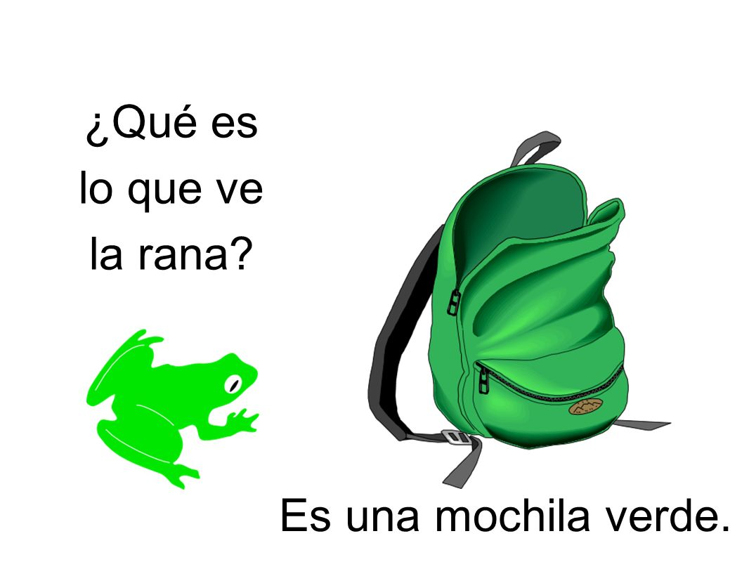 ¿Qué es lo que ve la rana? Es una mochila verde.