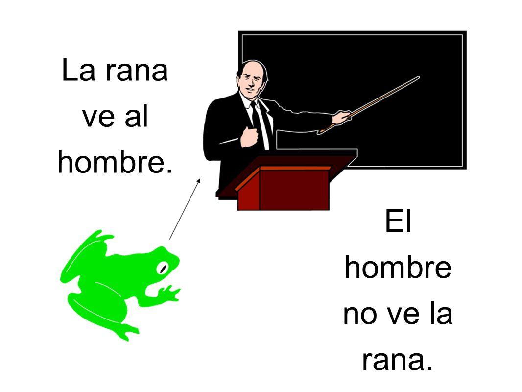 La rana ve al hombre. El hombre no ve la rana.