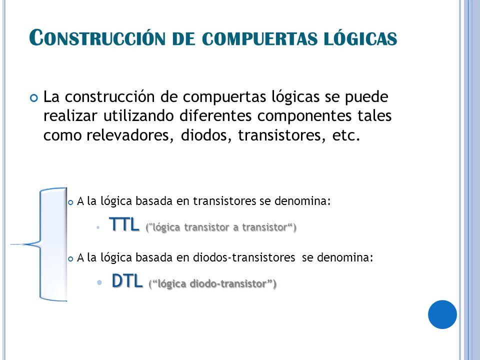C ONSTRUCCIÓN DE COMPUERTAS LÓGICAS La construcción de compuertas lógicas se puede realizar utilizando diferentes componentes tales como relevadores,