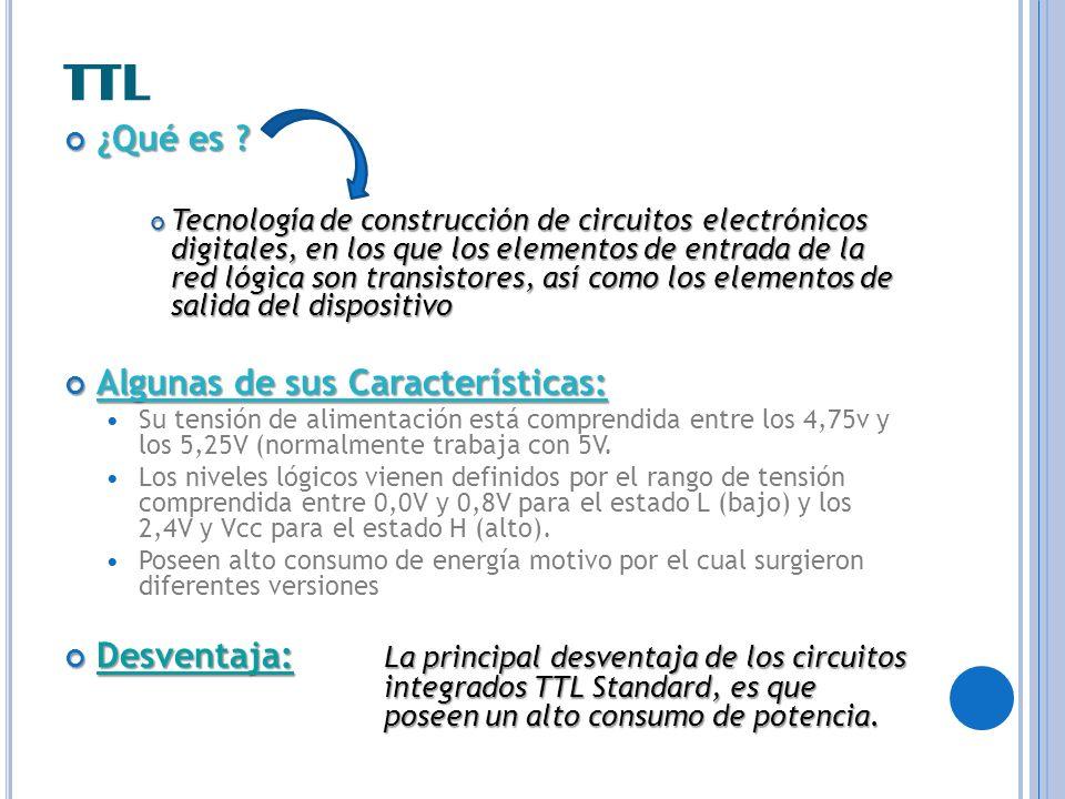 TTL ¿Qué es ? ¿Qué es ? Tecnología de construcción de circuitos electrónicos digitales, en los que los elementos de entrada de la red lógica son trans