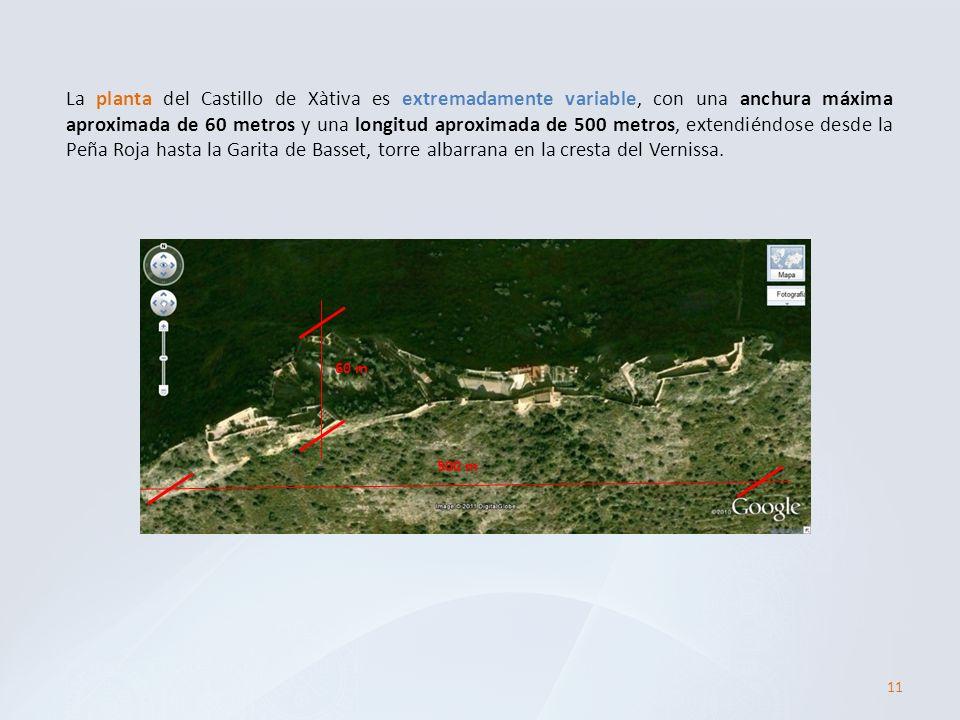 La planta del Castillo de Xàtiva es extremadamente variable, con una anchura máxima aproximada de 60 metros y una longitud aproximada de 500 metros, e