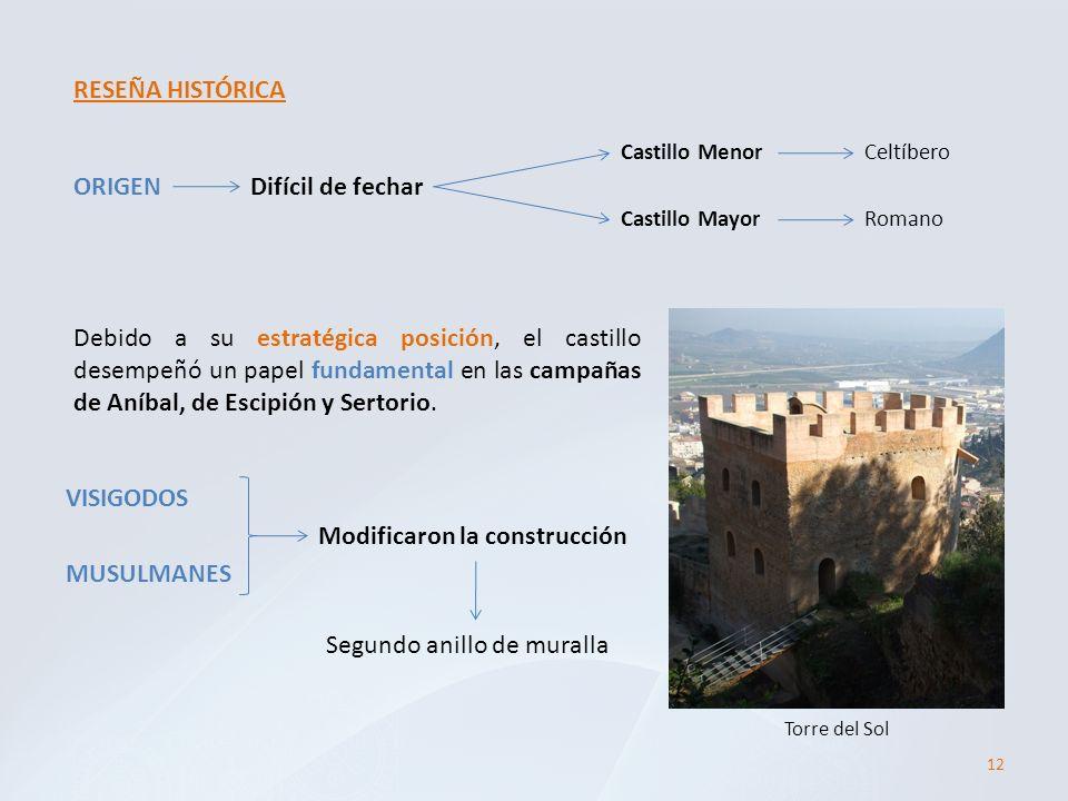 12 RESEÑA HISTÓRICA ORIGEN Castillo Menor Castillo Mayor Celtíbero Romano Difícil de fechar Debido a su estratégica posición, el castillo desempeñó un