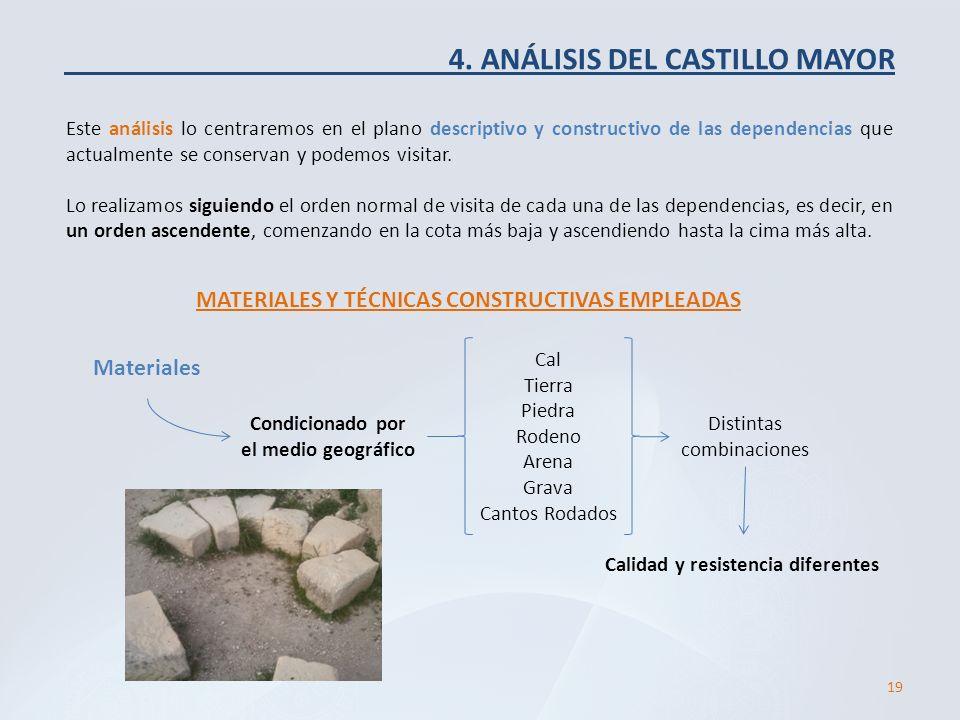 4. ANÁLISIS DEL CASTILLO MAYOR Este análisis lo centraremos en el plano descriptivo y constructivo de las dependencias que actualmente se conservan y