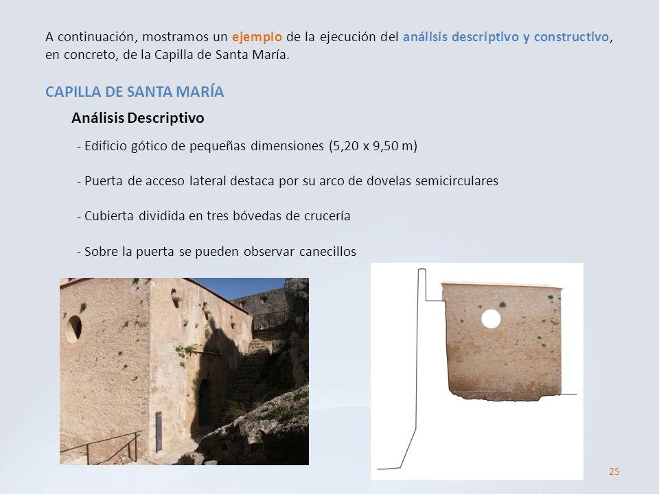 25 CAPILLA DE SANTA MARÍA A continuación, mostramos un ejemplo de la ejecución del análisis descriptivo y constructivo, en concreto, de la Capilla de