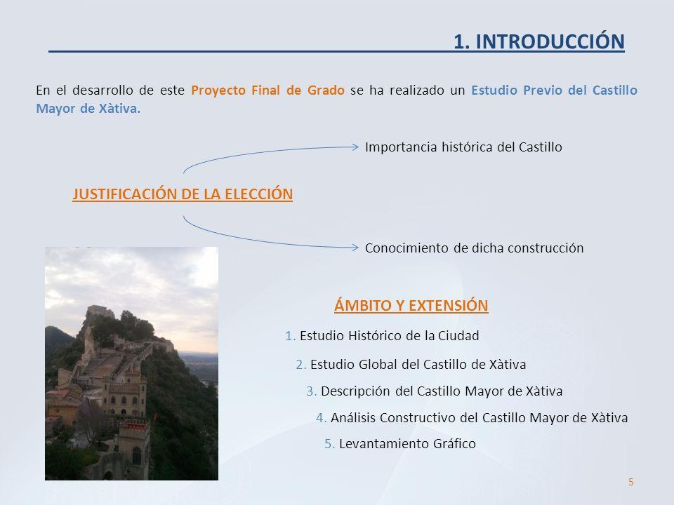 En el desarrollo de este Proyecto Final de Grado se ha realizado un Estudio Previo del Castillo Mayor de Xàtiva. 1. INTRODUCCIÓN JUSTIFICACIÓN DE LA E