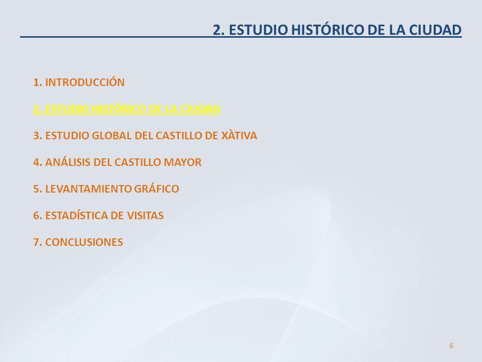 2. ESTUDIO HISTÓRICO DE LA CIUDAD 1. INTRODUCCIÓN 6 2. ESTUDIO HISTÓRICO DE LA CIUDAD 3. ESTUDIO GLOBAL DEL CASTILLO DE XÀTIVA 4. ANÁLISIS DEL CASTILL
