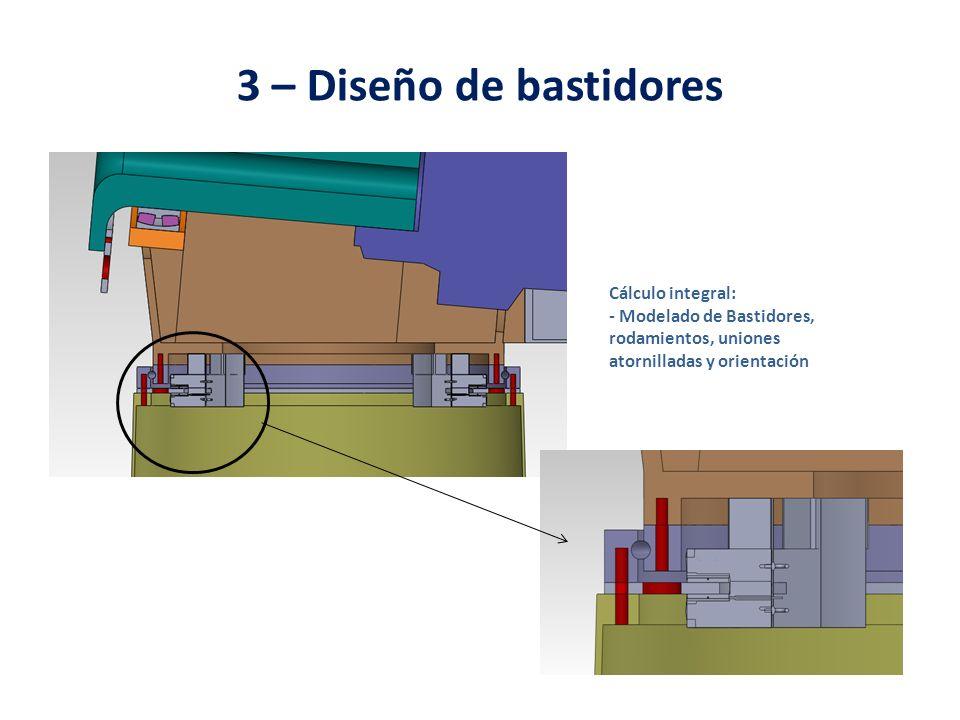 3 – Diseño de bastidores Cálculo integral: - Modelado de Bastidores, rodamientos, uniones atornilladas y orientación