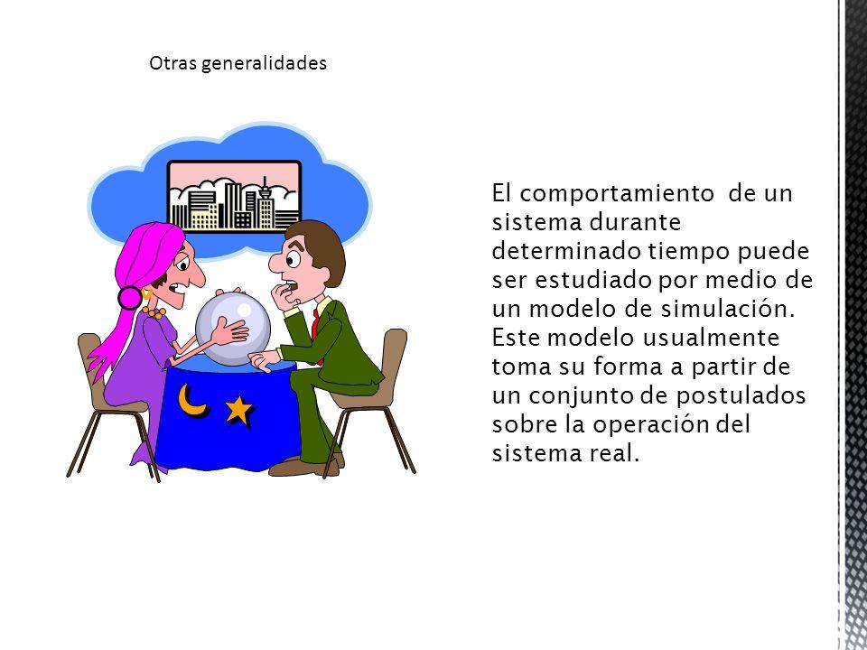 El comportamiento de un sistema durante determinado tiempo puede ser estudiado por medio de un modelo de simulación. Este modelo usualmente toma su fo