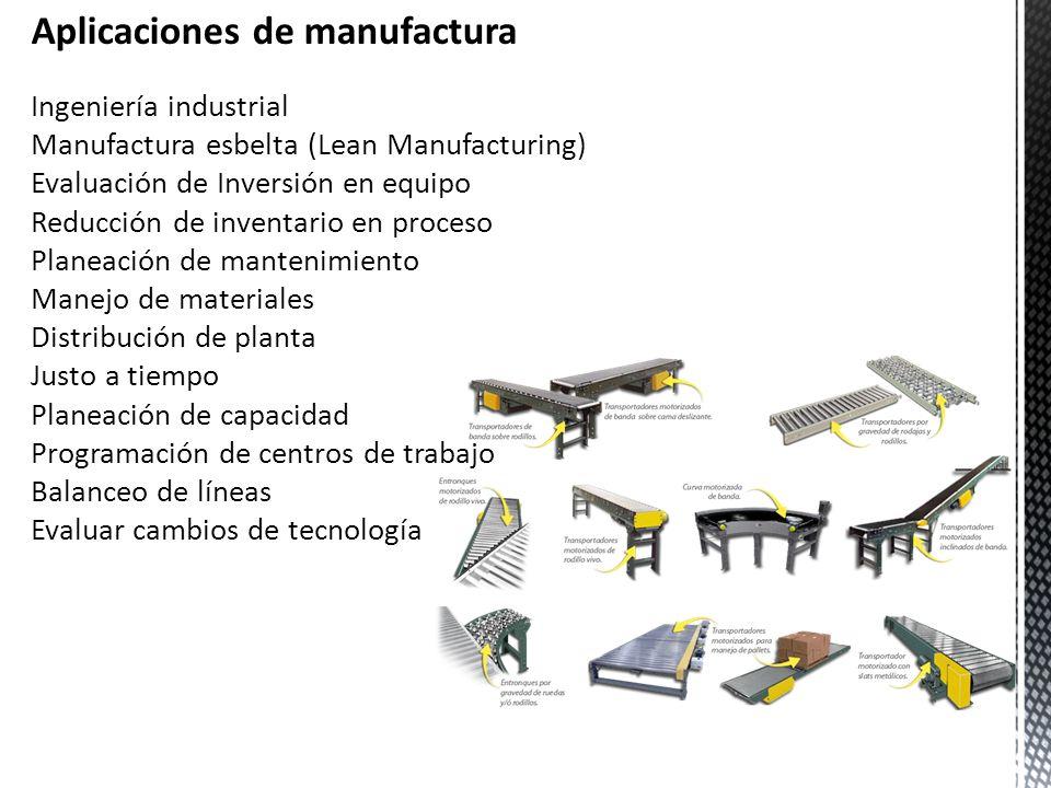 Aplicaciones de manufactura Ingeniería industrial Manufactura esbelta (Lean Manufacturing) Evaluación de Inversión en equipo Reducción de inventario e