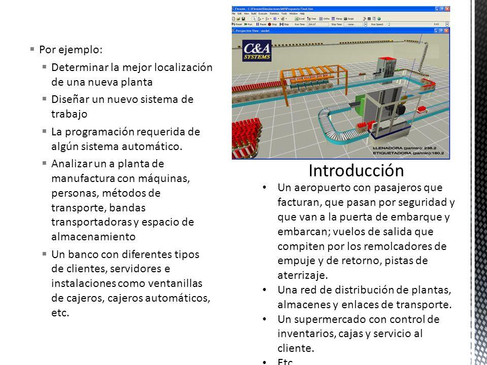 Por ejemplo: Determinar la mejor localización de una nueva planta Diseñar un nuevo sistema de trabajo La programación requerida de algún sistema autom