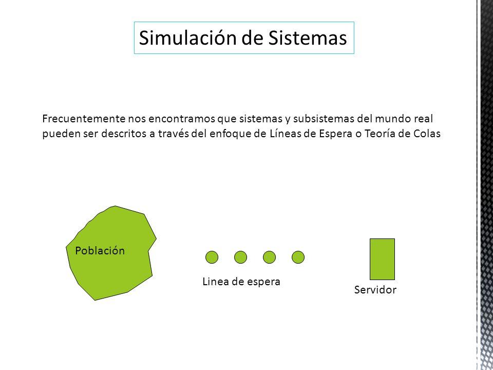 Simulación de Sistemas Frecuentemente nos encontramos que sistemas y subsistemas del mundo real pueden ser descritos a través del enfoque de Líneas de