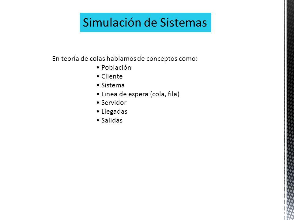 Simulación de Sistemas En teoría de colas hablamos de conceptos como: Población Cliente Sistema Linea de espera (cola, fila) Servidor Llegadas Salidas