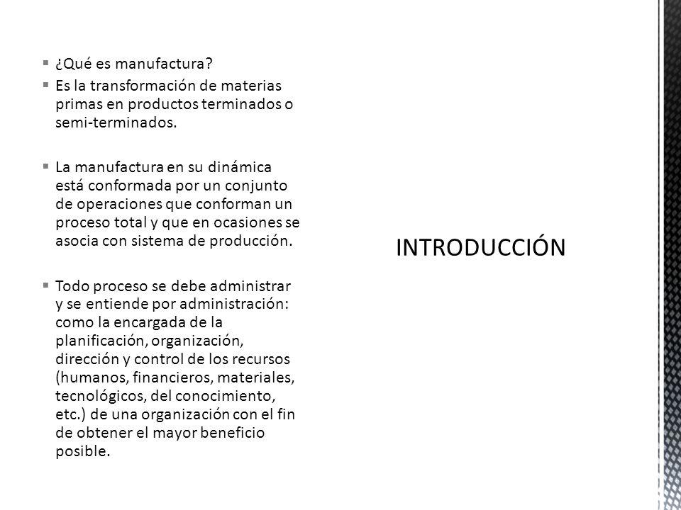 ¿Qué es manufactura? Es la transformación de materias primas en productos terminados o semi-terminados. La manufactura en su dinámica está conformada