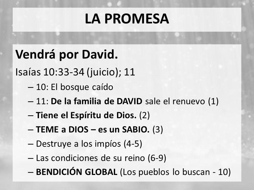 LA PROMESA Vendrá por David. Isaías 10:33-34 (juicio); 11 – 10: El bosque caído – 11: De la familia de DAVID sale el renuevo (1) – Tiene el Espíritu d