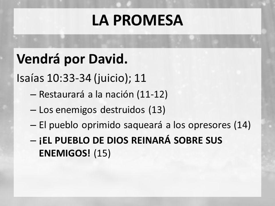 LA PROMESA Vendrá por David. Isaías 10:33-34 (juicio); 11 – Restaurará a la nación (11-12) – Los enemigos destruidos (13) – El pueblo oprimido saquear