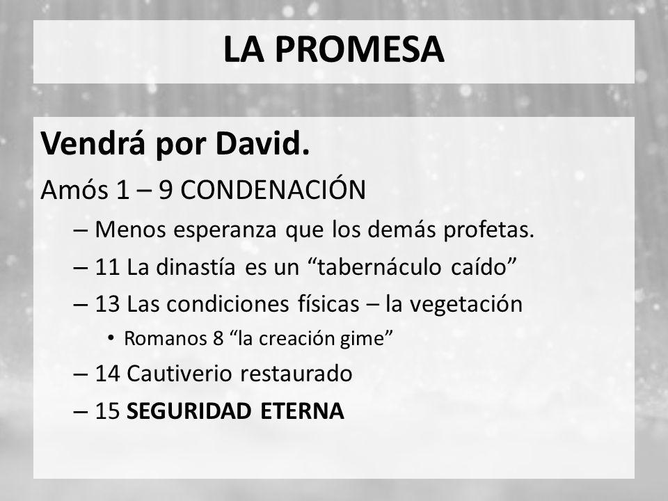 LA PROMESA Vendrá por David. Amós 1 – 9 CONDENACIÓN – Menos esperanza que los demás profetas. – 11 La dinastía es un tabernáculo caído – 13 Las condic