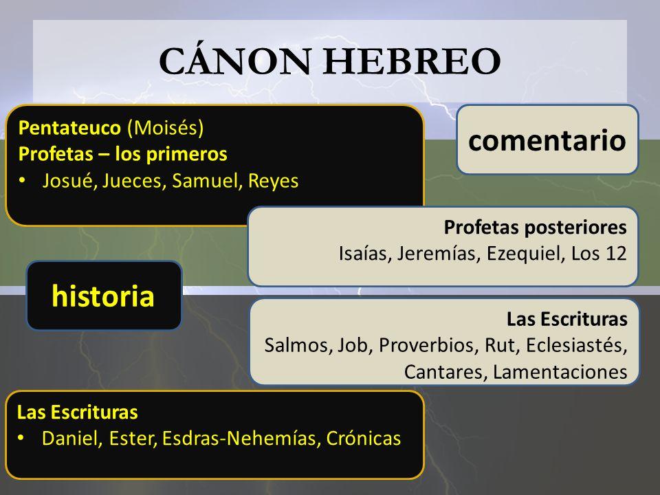CÁNON HEBREO Pentateuco (Moisés) Profetas – los primeros Josué, Jueces, Samuel, Reyes Profetas posteriores Isaías, Jeremías, Ezequiel, Los 12 Las Escr
