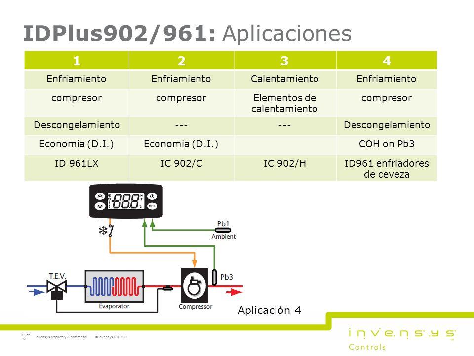 IDPlus902/961: Aplicaciones © Invensys 00/00/00Invensys proprietary & confidential Slide 13 1234 Enfriamiento CalentamientoEnfriamiento compresor Elem