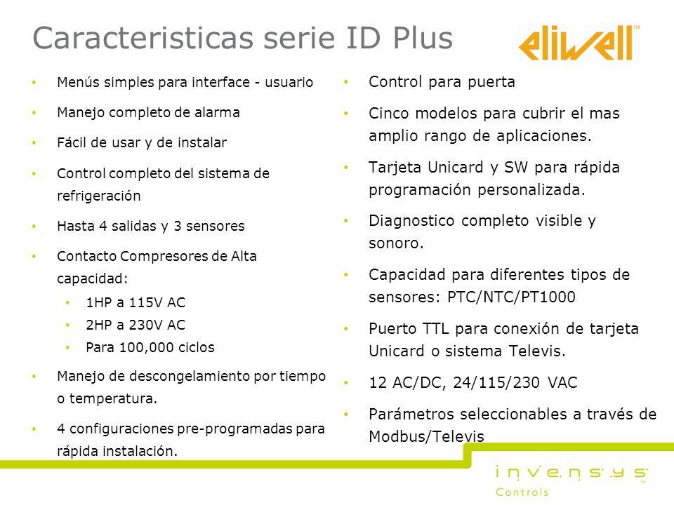 Caracteristicas serie ID Plus Control para puerta Cinco modelos para cubrir el mas amplio rango de aplicaciones. Tarjeta Unicard y SW para rápida prog