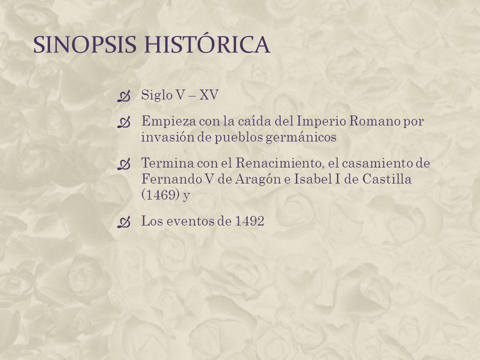 SINOPSIS HISTÓRICA Siglo V – XV Empieza con la caída del Imperio Romano por invasión de pueblos germánicos Termina con el Renacimiento, el casamiento