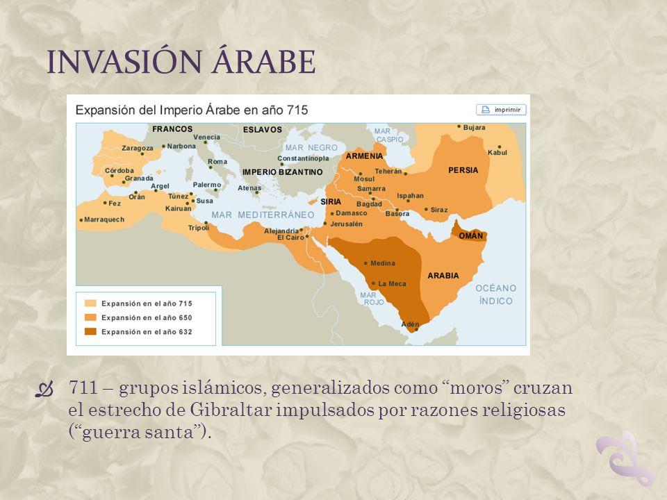 INVASIÓN ÁRABE 711 – grupos islámicos, generalizados como moros cruzan el estrecho de Gibraltar impulsados por razones religiosas (guerra santa).
