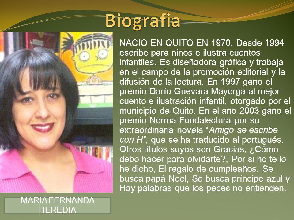 NACIO EN QUITO EN 1970. Desde 1994 escribe para niños e ilustra cuentos infantiles. Es diseñadora gráfica y trabaja en el campo de la promoción editor
