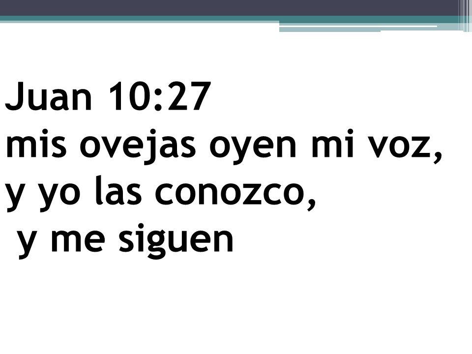 Juan 10:27 mis ovejas oyen mi voz, y yo las conozco, y me siguen