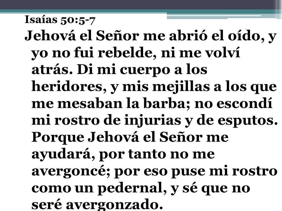 Isaías 50:5-7 Jehová el Señor me abrió el oído, y yo no fui rebelde, ni me volví atrás. Di mi cuerpo a los heridores, y mis mejillas a los que me mesa