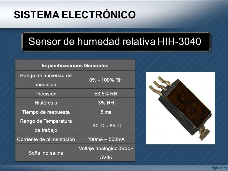 SISTEMA ELECTRÓNICO Sensor de humedad relativa HIH-3040