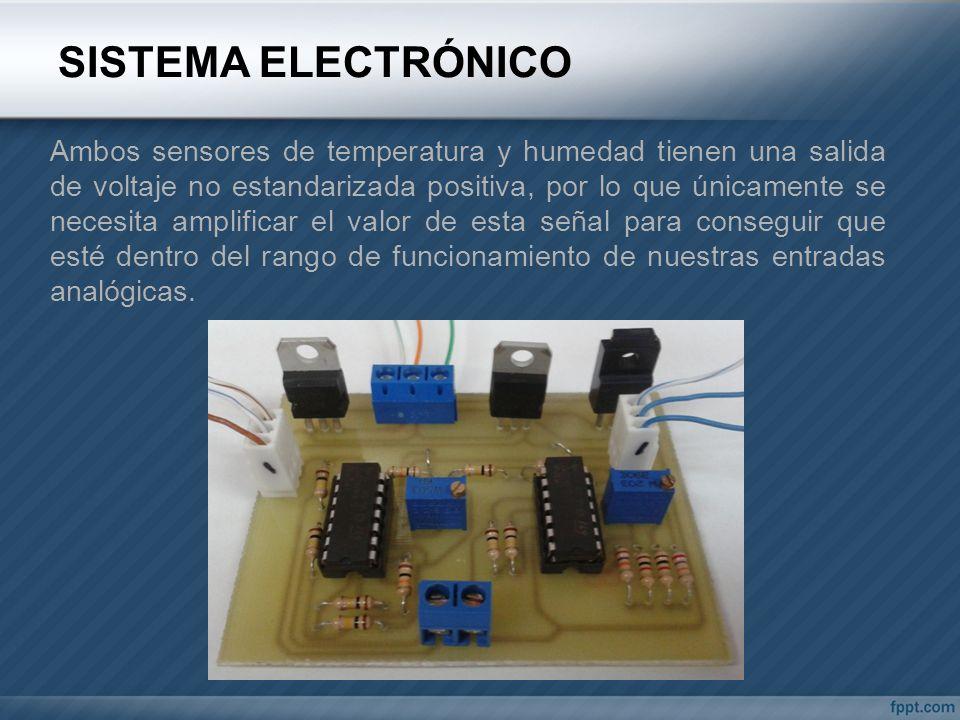 SISTEMA ELECTRÓNICO Ambos sensores de temperatura y humedad tienen una salida de voltaje no estandarizada positiva, por lo que únicamente se necesita