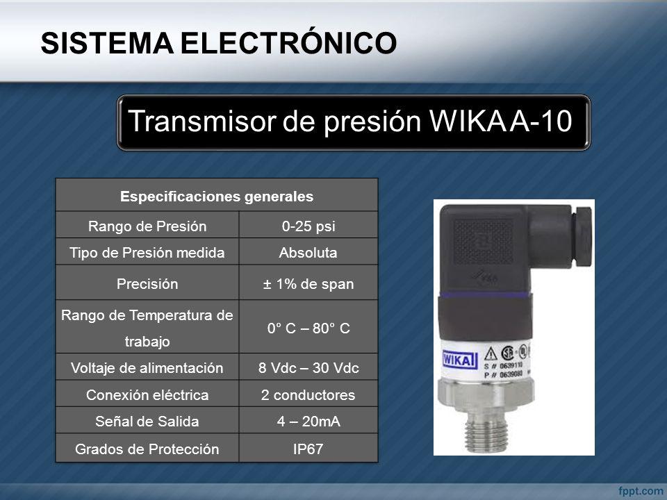 SISTEMA ELECTRÓNICO Transmisor de presión WIKA A-10