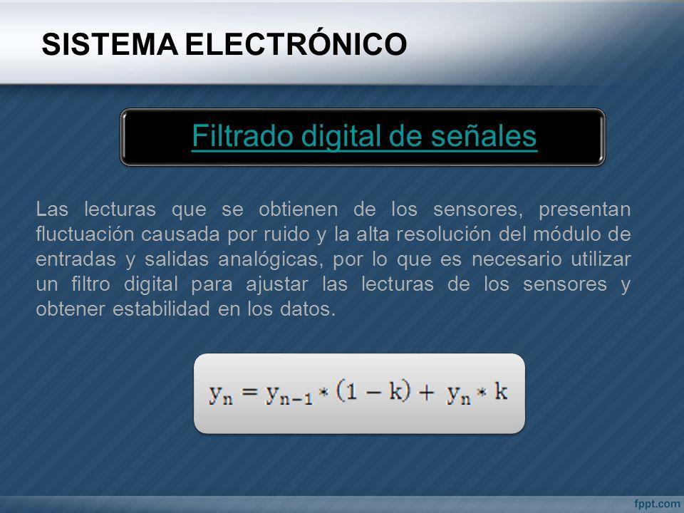 SISTEMA ELECTRÓNICO Filtrado digital de señales Las lecturas que se obtienen de los sensores, presentan fluctuación causada por ruido y la alta resolu
