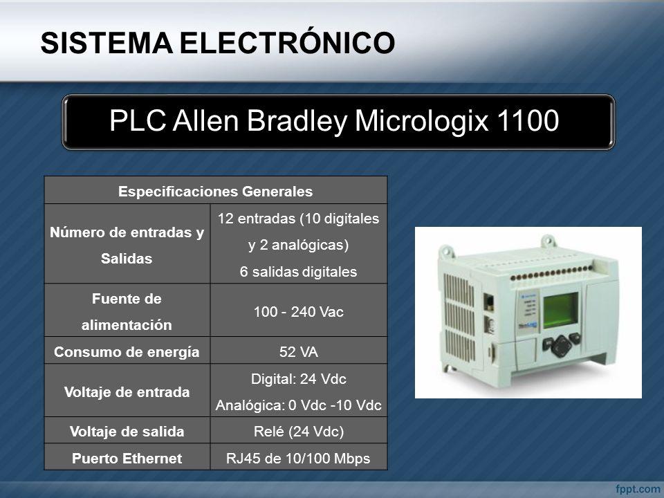 SISTEMA ELECTRÓNICO PLC Allen Bradley Micrologix 1100 Especificaciones Generales Número de entradas y Salidas 12 entradas (10 digitales y 2 analógicas