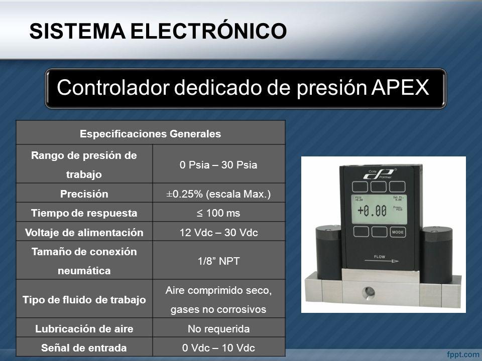 SISTEMA ELECTRÓNICO Controlador dedicado de presión APEX Especificaciones Generales Rango de presión de trabajo 0 Psia – 30 Psia Precisión±0.25% (esca