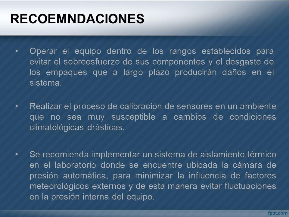 RECOEMNDACIONES Se recomienda implementar un sistema de aislamiento térmico en el laboratorio donde se encuentre ubicada la cámara de presión automáti